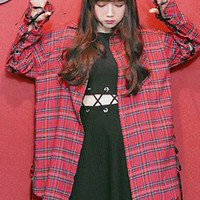 Long baggy red tartan Harajuku shirt dress