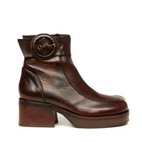 Reboot 90s Brown Leather Buckle Strap Platform Ankle Boot // Size 6.5