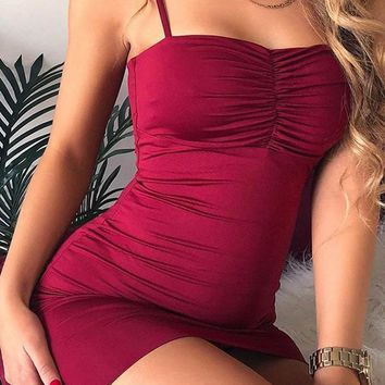 New Burgundy Shoulder-Strap Bodycon Clubwear Sleeveless Party Mini Dress