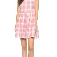 Marc by Marc Jacobs Women's Blurred Gingham Voile Dress, Piggy Pink Multi, 6