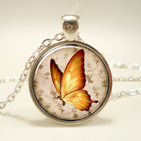 Butterfly Necklace Vintage Style Woodland Jewelry by rainnua