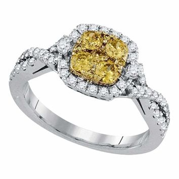 14kt White Gold Women's Round Natural Canary Yellow Diamond Square Cluster Ring 1.00 Cttw - FREE Shipping (US/CAN)
