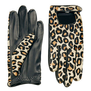 Lord & Taylor Leopard Print Driver Gloves