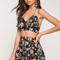 Two Piece Ruffle Floral Short Set