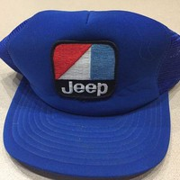 DCCK3SY Vintage 1980s JEEP Snapback Trucker Mesh Hat Cap Embroidered Patch Blue