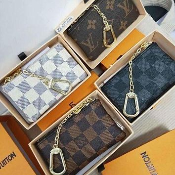 LV louis vuitton fashion men and women zipper key bag clutch bag coin purse bag 4