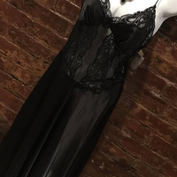 Absolutely Gorgeous Black Satin & Lace Christian Dior Negligee Sexy Night Gown Evening Lounging Never Worn Vintage with Tags size M