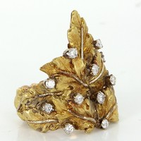 Vintage Buccellati Diamond Leaf Ring 18 Karat Gold Estate Signed Jewelry Sz 7.5