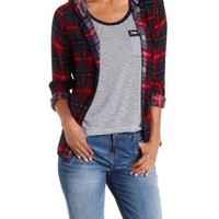 Burgundy Cmb Button-Up Plaid Hooded Top by Charlotte Russe