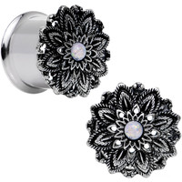 "9/16"" White Synthetic Opal Steel Flower Frame Double Flare Plug Set 