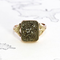 Victorian Pyrite Ring, Antique 10k Rose and Yellow Gold, Iron Pyrite Fool's Gold Signet Ring, Nature Lover, Rustic Love Token