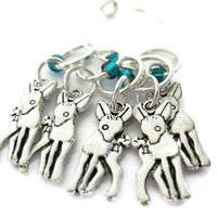 Stitch Marker Set | Charmed Set | Beaded Stitchmarker | Knitting Stitch Marker | Knitting Gift | Deer charm with turquoise beads | #S028