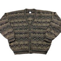 Vintage 1990s 90s 5-Button Acrylic Brown Cardigan Sweater Mens Size Large