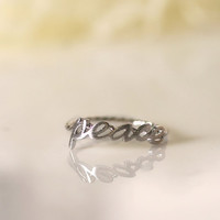 Cute and tiny peace letter  adjustable ring. by DoubleBJewelry