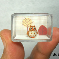 Micro Brown Owl  Micro Crocheted Miniature Owl  Made To by SuAmi