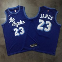 LA. Lakers 23 James Blue Retro Basketball Jersey