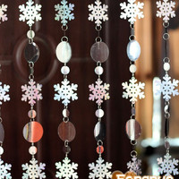 Free shipping, Christmas decoration curtain, big snowflakes laser sequins, PVC glitter sequins curtain Christmas tree ornaments