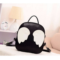 2016 Fashion Panelled PU Leather Angel Wings School Backpack for Teenage Girls Mochila Bolsas Travel laptop Bags Rucksack Li256