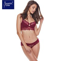 Burvogue New Sexy Women Lace Lingerie Bra Set Push Up Bras And Underwear Sets Plus size Adjustable Push Up Bra And Panty Set