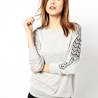 Warehouse | Warehouse Embroidered Sleeve Jumper at ASOS