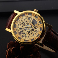 Retro Unique Unisex Hollow Roman Leather Watch Christmas Gift