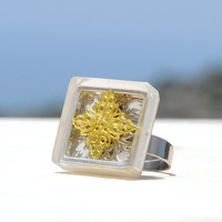 OOAK cool square adjustable ring with framed silver filigree on the bottom and gold filigree flower on top, encased in resin