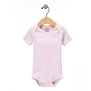 SILLY SOULS Lil Sister Miss Behaving baby Onesuit pink