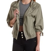Lt Olive Hooded Dolman Sleeve Anorak Jacket by Charlotte Russe