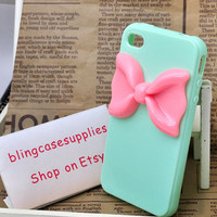 pink bow soft  silicone green iphone 4 case or iphone 4s cover