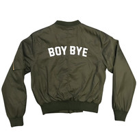 Boy Bye - Women's Bomber Jacket (  Embroidered Olive Green )