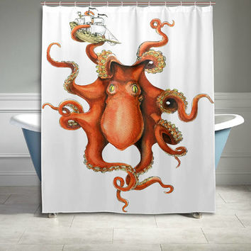 Catch Ship Octopus Polyester Fabric Shower Curtain Bathroom Sets Home Decor 60 X 72 Inches Yellow