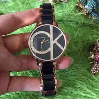 CK Calvin Klein Women Diamonds Fashion Quartz Movement Watch Wristwatch