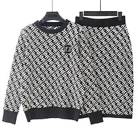 FENDI Autumn Winter Trending Women Stylish Double F Letter Jacquard Knit Sweater Top Skirt Set Two Piece Black