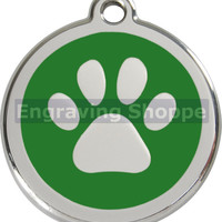 Green Paw Print Enamel and Stainless Steel Personalized Custom Pet Tag with LIFETIME GUARANTEE ID Tag Dog Tags and Cat Tags Free Engraving