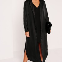 Missguided - Petite Embroidered Satin Duster Jacket Black