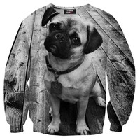 Adorable Baby Pug Puppy Dog Graphic Print Unisex Pullover Sweater in Black and White