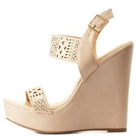 Nude Combo Contrast-Backed Laser-Cut Wedge Sandals by Charlotte Russe