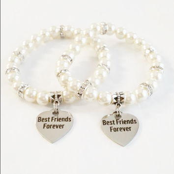 Best Friends Bracelet Ivory | Bff Jewelry | Best Frends Forever | Bff gifts | Bff Bracelet Set | Gift for Her | Gift for teens