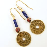 Boho Earrings Tribal Coin Jewelry Blue Dangling Earrings Trade Bead Earrings Asian Coin Jewelry Tribal Fashion Under 25 for Her