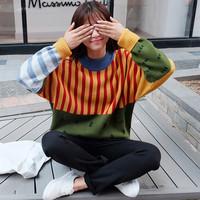 Color Block Knitted Pullover Striped Sweater