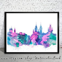 Prague  City Skyline, Art Print, Prague   poster, Prague  art, Prague  watercolor, watercolor poster, map poster, City watercolor,