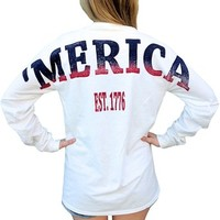 Merica Stadium Jersey USA Unisex Size Long Sleeve T Shirt with Front Pocket