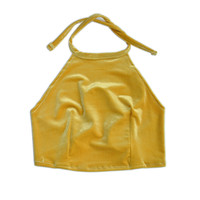 Honey Mustard Velvet Halter Top