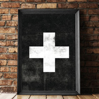 Swiss Cross Black Scandinavian Art Print