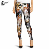 Summer Style Lovely Cat Printed Pattern Leggings Slim Colorful Casual Gothic Interest Leggings Lady Sexy Pants F354