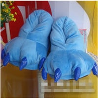 """Lilo and Stitch Stitch Cosplay Adult Plush Rave Cute Shoes Slippers 11"""" Blue"""