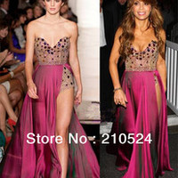 Sequin and Chiffon Sweetheart Crystal Beaded Detachable Long Red Chiffon Side Split Sexy Prom Dresses