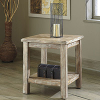 0-000731>Rustic Accents Chairside End Table Bisque