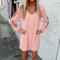 Peach Open Sleeve Dress