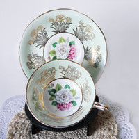 Mint Green Paragon Wide Teacup Floral Ornate Footed Tea Cup Shabby Chic White Rose China Cabinet Decor Vintage Tea Set Gift for Her Mothers
